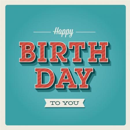 gateau anniversaire: Carte de joyeux anniversaire. R�tro. Lettres typographie type de police. Editable pour la f�te d'anniversaire heureux invitation.