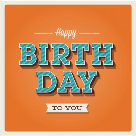 happy birthday party: Tarjeta del feliz cumplea�os. Vintage Retro. Letras Tipograf�a tipo de letra. Editable para la fiesta de cumplea�os invitaci�n feliz. Vectores
