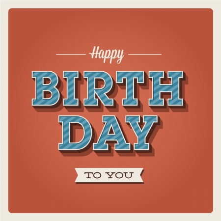 Happy birthday card. Retro vintage. Typography letters  font type. Editable for invitation happy birthday party. Vector