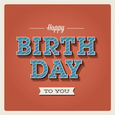 happy birthday cartoon: Happy birthday card. Retro vintage. Typography letters  font type. Editable for invitation happy birthday party.