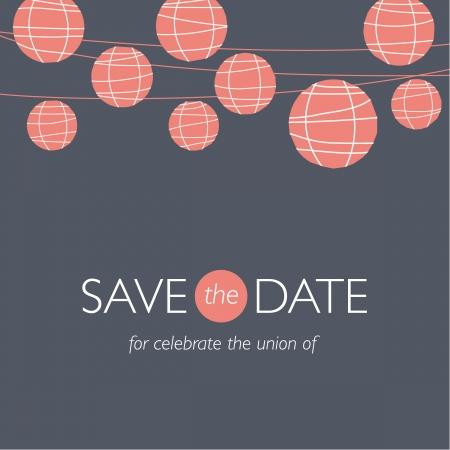dattes: carte d'invitation de mariage, save the date, lampes ballons en papier, illustration vectorielle arri�re-plan de mariage