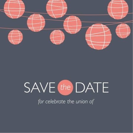 save the date: wedding invitation card, save the date, balloons paper lamps, wedding background illustration vector