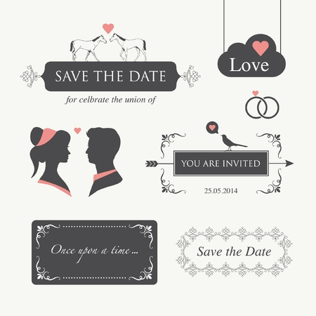 set of wedding logo design illustration elements and ornament, editable for wedding invitation card  Illustration