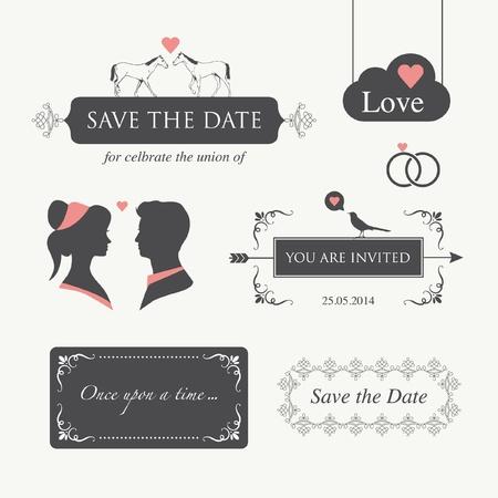 set of wedding logo design illustration elements and ornament, editable for wedding invitation card  向量圖像