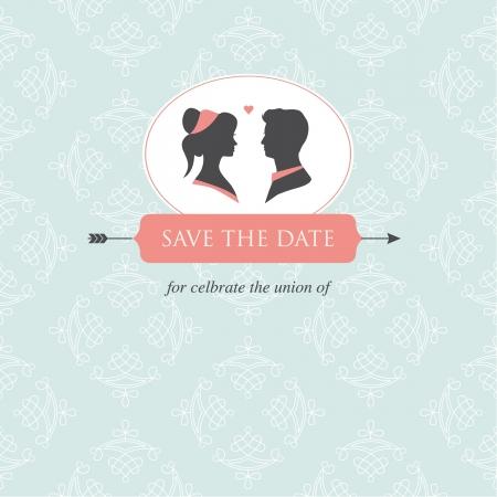tarjeta de invitacion: invitación de la boda tarjeta de plantilla editable con la ilustración de la boda pareja y los antecedentes de la boda Vectores