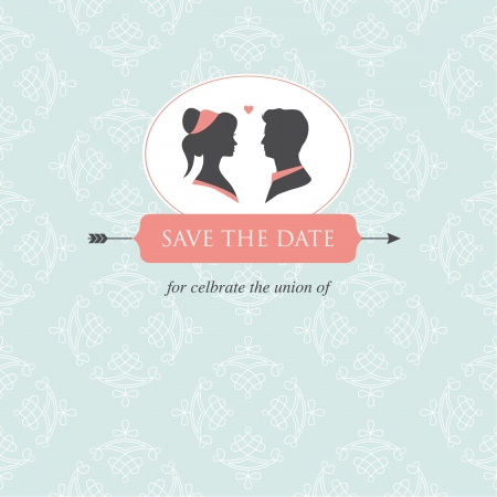 wedding invitation card template editable with wedding couple illustration and wedding background Vector