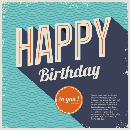 70s: Vintage retro happy birthday card, with fonts, grunge frame and chevrons seamless background .