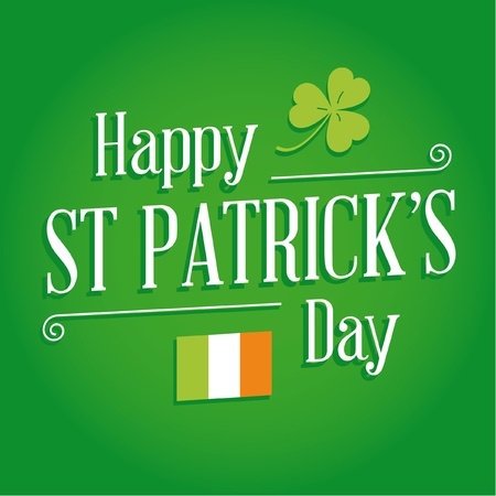 Happy St Patricks day card with irish flag, lucky clover, ornaments, and typography font type Stock Vector - 17729683