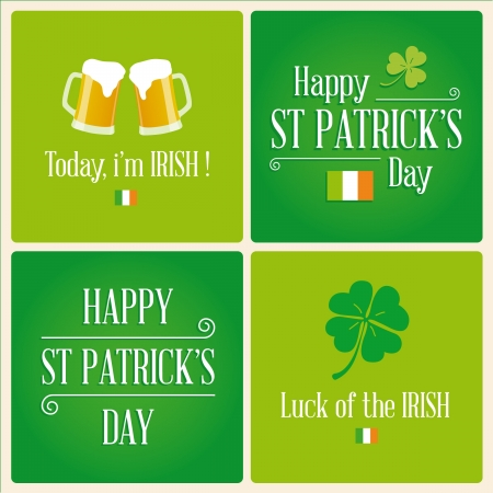 st  patricks day: Happy St Patricks day card with beer, lucky clover, irish flag, ornaments