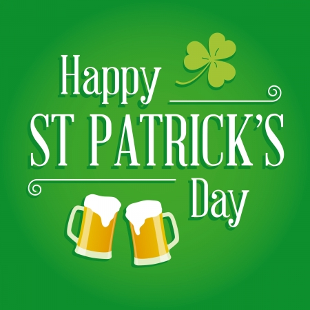 Happy St Patricks day card with beer, lucky clover, ornaments and typography  font type Stock Vector - 17729688