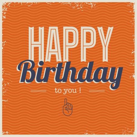 happy birthday cartoon: Happy birthday card, with retro typography, grunge frame and waves seamless background .