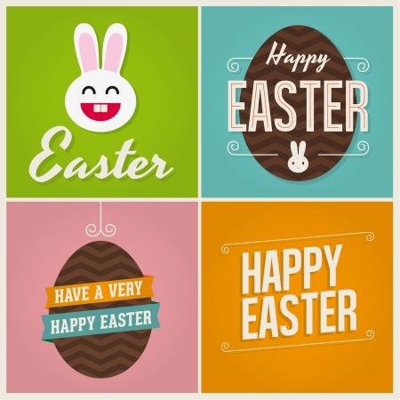 huevos de pascua: Pascua feliz tarjetas de ilustración con los huevos de Pascua, conejito de Pascua, el conejo de Pascua y de la fuente.