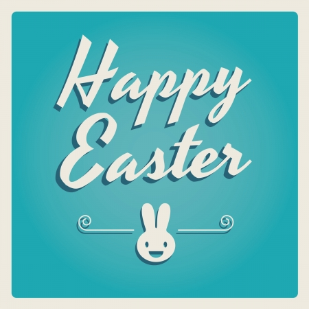 Happy easter cards illustration with easter eggs, easter bunny, easter rabbit and font.  Vector