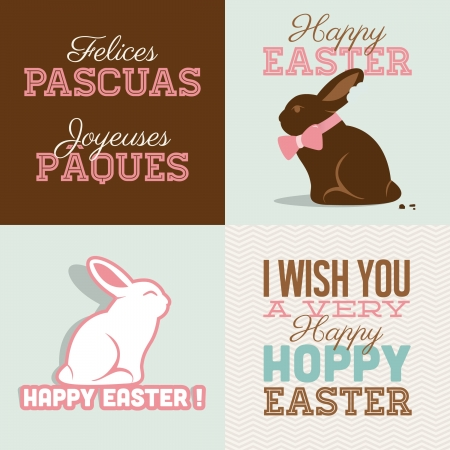 cartoon easter basket: Happy easter cards illustration with easter bunny chocolate, easter rabbit and font   Illustration