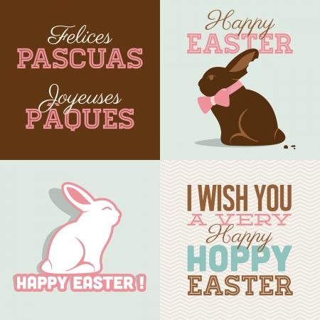 conejo caricatura: Pascua feliz tarjetas Pascua de chocolate con ilustraci�n conejito, conejo de Pascua y fuente