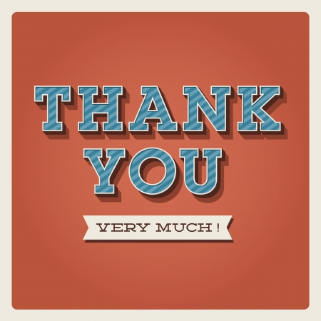 thank you: Thank you card, with font, typography and ribbon