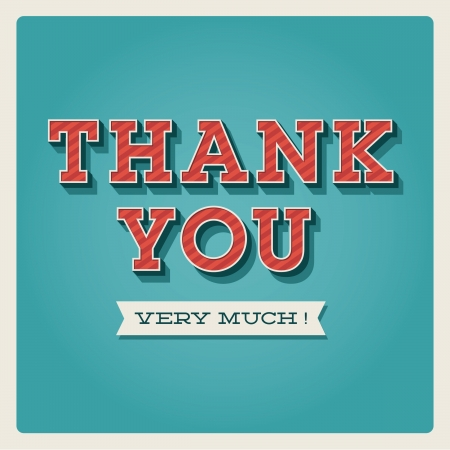 Thank you card, with font, typography and ribbon Vector