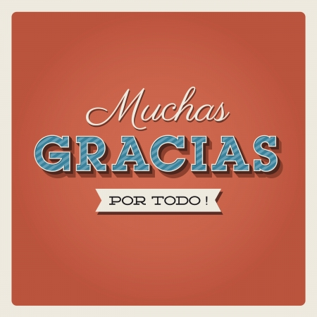 Thank you card, with font, typography and ribbon. Muchas gracias Vector