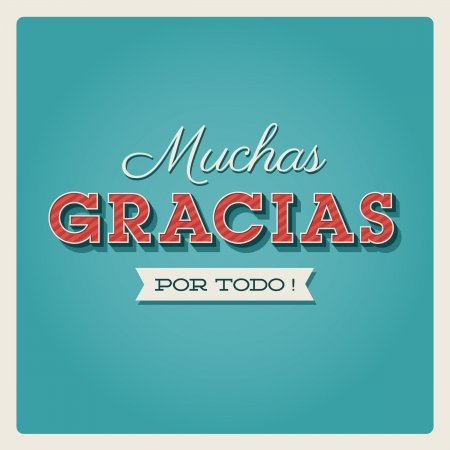 Thank you card, with font, typography and ribbon. Muchas gracias Illustration
