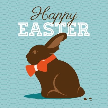 conejo caricatura: Feliz Pascua ilustración de la tarjeta con la Pascua de chocolate conejito, conejo de Pascua y de la fuente.