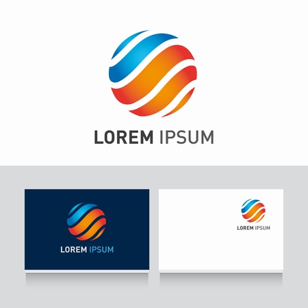 sphere logo: business card template editable with logo icon sphere vector