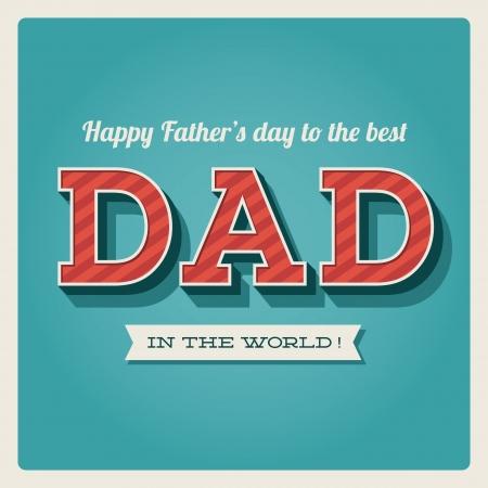 happy Fathers Day: D�a de padres feliz tarjeta vendimia fuente tipo retro Vectores