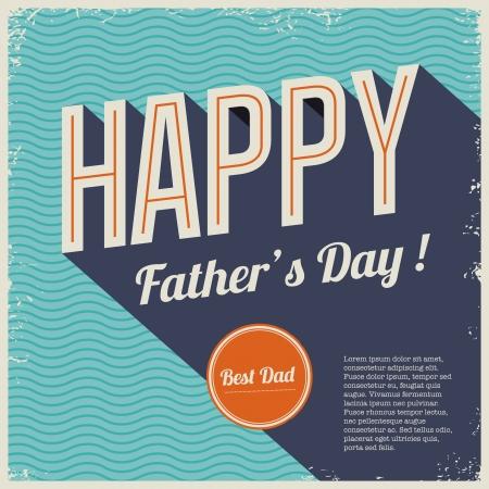 padres: Día de padres feliz tarjeta vendimia fuente tipo retro Vectores