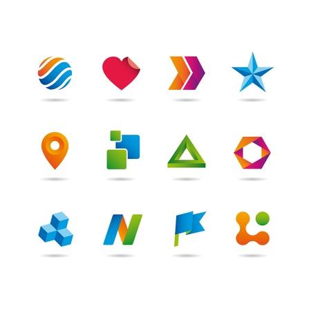 logos negocios: logotipo y los iconos conjunto, coraz�n, flechas, estrellas, esfera, cubo, la cinta y la bandera