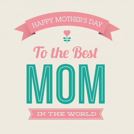 Happy mothers day card vintage retro type font Vector