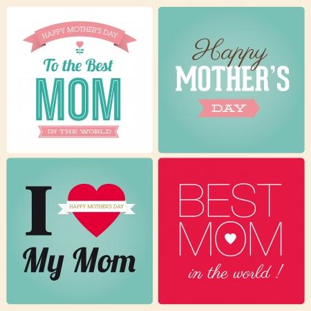 te quiero: Día de la Madre Feliz tarjeta vendimia fuente tipo retro Vectores