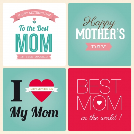 mothers day background: Happy Mothers Day card vintage tipo di font retr�