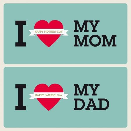 happy Fathers Day: D�a de la Madre Feliz d�a del padre y feliz con el coraz�n, las cintas y las fuentes Vectores