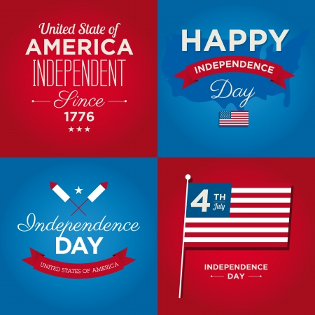Happy independence day cards United States of America, 4 th of July, with fonts, flag, map, signs and ribbons Vector