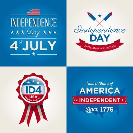 independencia: Feliz d�a de la independencia tarjetas de los Estados Unidos de Am�rica, 4 de julio, con las fuentes, bandera, mapa, carteles y cintas Vectores