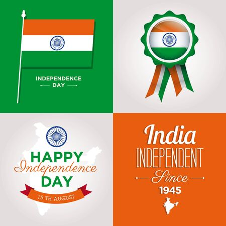 happy independence day india cards with fonts, map, flag and ribbon Vector