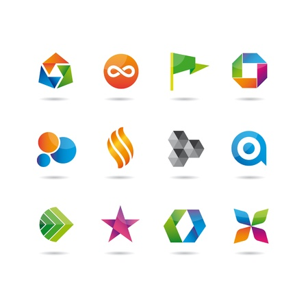 icons glossy set, flag, circle, bubble, star, origami, flower