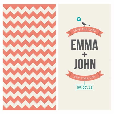 save the date: wedding invitation card editable with backround chevron, font, type, ribbons, bird, and heart vector