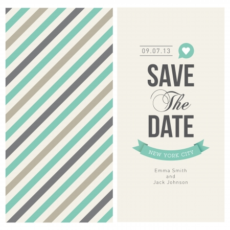 save the date: wedding invitation card editable with backround stripes, font, type, ribbons and heart vector  Illustration
