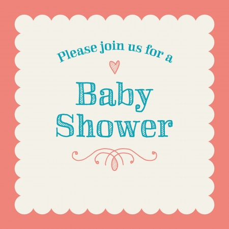 Baby shower invitation card editable with type, font, ornaments, heart frame border vintage Vector