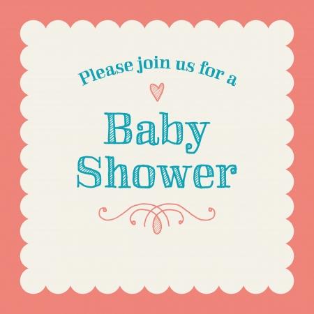 invitacion baby shower: Baby shower tarjeta de invitación editable con el tipo, fuente, adornos, corazón marco de la vendimia frontera