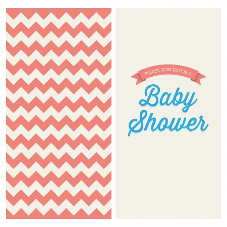 Baby shower invitation card editable with vintage retro background chevron, type, font, and ribbons Vector
