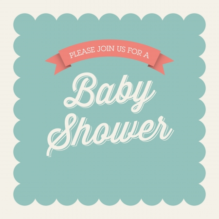 baby announcement: Baby shower invitation card editable with type, font, ribbon, frame border vintage Illustration