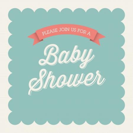 invitacion baby shower: Baby shower tarjeta de invitación editable con el tipo, fuente, cinta, marco vintage frontera