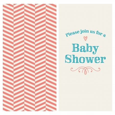 Baby shower invitation card editable with vintage retro background chevron, type, font, ornaments, and heart Vector