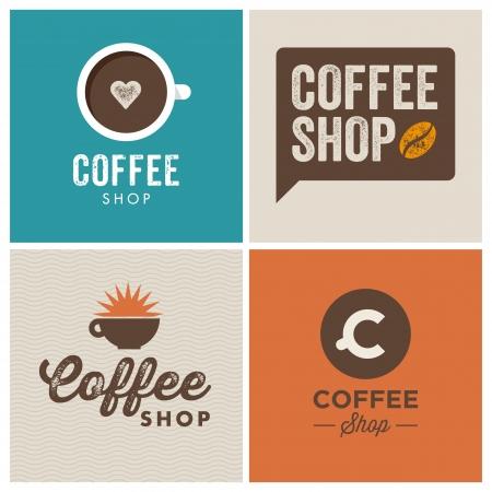 logos restaurantes: Cafeter�a Sal�n de elementos de dise�o de logotipo ilustraci�n vectorial vendimia Vectores
