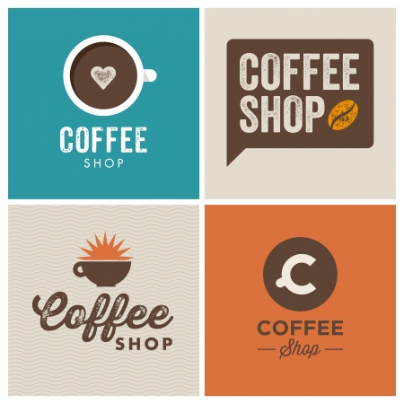 coffee shop design logo elements illustration vintage vector Vector