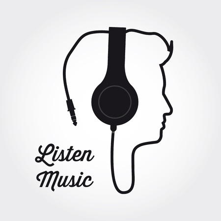 headphones: man profile silhouette with headphone music illustration  Illustration