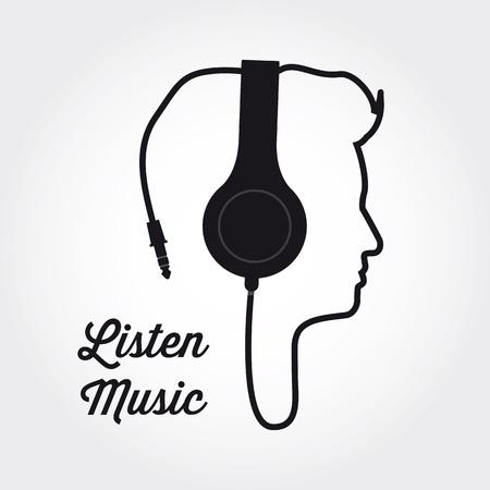 auriculares dj: silueta de perfil de hombre con auriculares Ilustración de la música
