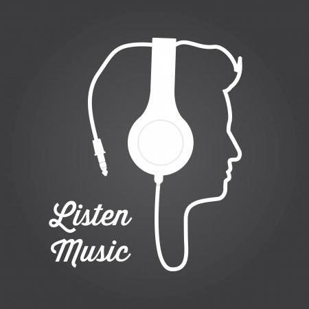 dj music: man profile silhouette with headphone music illustration  Illustration
