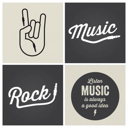 tambor: logo de música elementos del diseño con el tipo de fuente y la ilustración Vectores